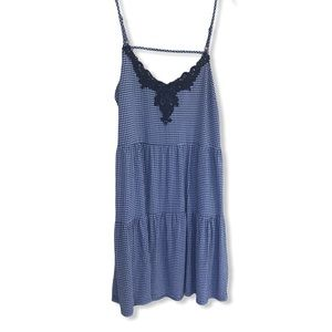 Addition Elle Gingham Print Dress with Navy Lace